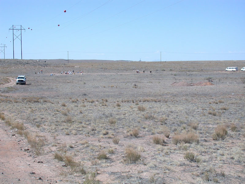 Deann's site in 2006, view south. The playa floor is apparent in the middle ground (note back dirt from trench at right). Excavations are under way at the Folsom locality on the far side of the basin. Basalt outcrops are apparent at left, just below the nearest power poles. (V.T. Holliday).