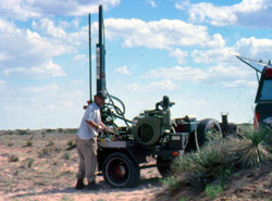 Coring at the Lucy site, New Mexico