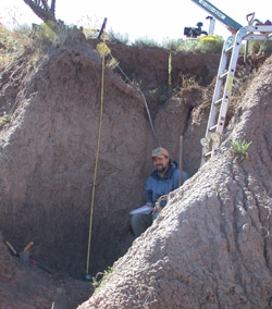 Sampling at the San Jon site, New Mexico