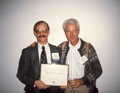 With my PhD advisor and good friend  Pete Birkeland after receiving the  Kirk Bryan Award, 1998.