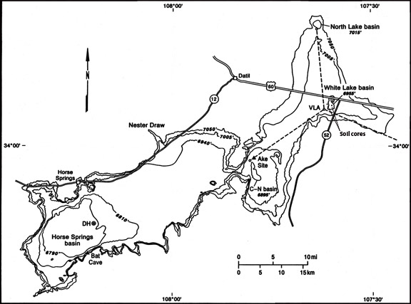 Map showing four stages of Pleistocene Lake San Augustin, Holocene playas (basins), and excavated archaeological sites (solid triangles). Oberline core (Clisby and Sears 1956) indicated by symbol labeled DH. Location of soil cores indicated by small dots.